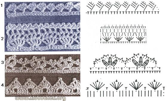...вязания, которые можно использовать в качестве узкого краевого кружева для отделки или завершая вязанное спицами...