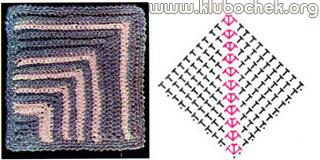 Вязание крючком квадрата из угла 26