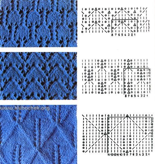 Вязание спицами.  Образцы и схемы ажурной вязки, образованные накидами.