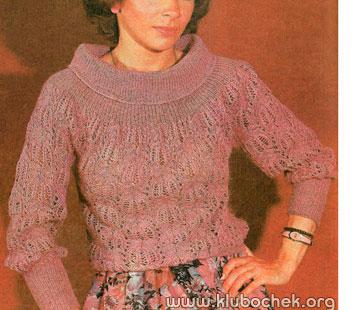Розовый ажурный джемпер - www.klubochek.org
