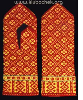 красные варежки с орнаментом модели связанные спицами Www