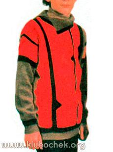 Джемпер, связанный поперек, для мальчика - www.klubochek.org